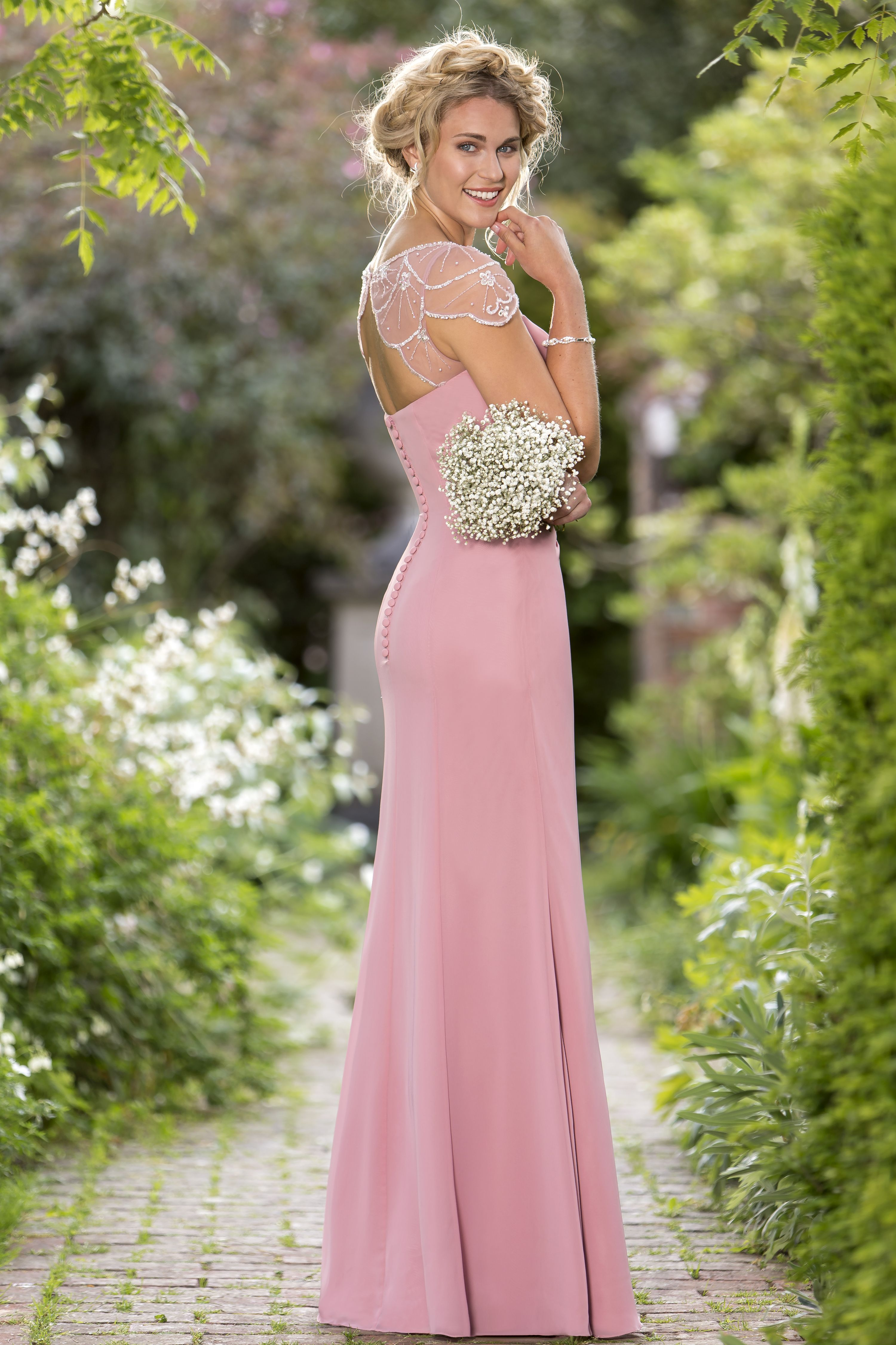 M656 - Slim fitting chiffon bridesmaids with \'Deco\' inspired sheer ...