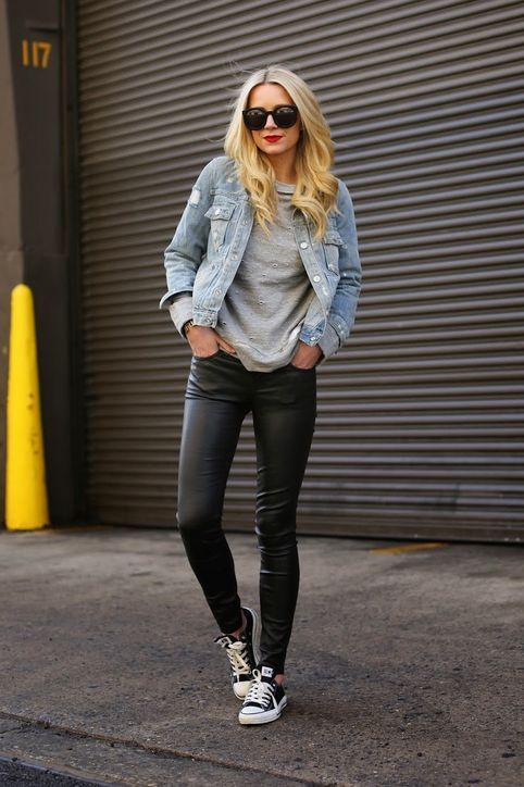 7987bfde8b1 Pair your favorite black leather leggings with a denim jacket and sneakers  for a fun