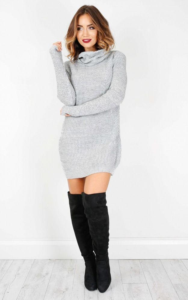 21859c38ef0 High Neck Striped Knit Sweater Dress