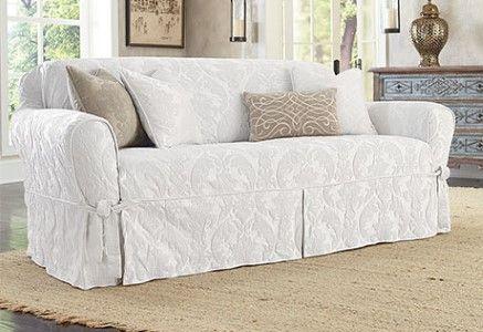 Sure Fit Matelasse Damask One Piece Loveseat Slipcover White Sofa