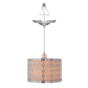 Worth home products 1 light brushed nickel instant pendant light bring a wonderful look to your home with worth home products light brushed nickel instant pendant conversion kit and overlay with linen drum shade aloadofball Gallery