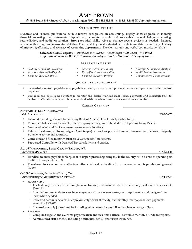 Senior Accountant Resume Sample For Staff Microsoft Word Formata Pinterest