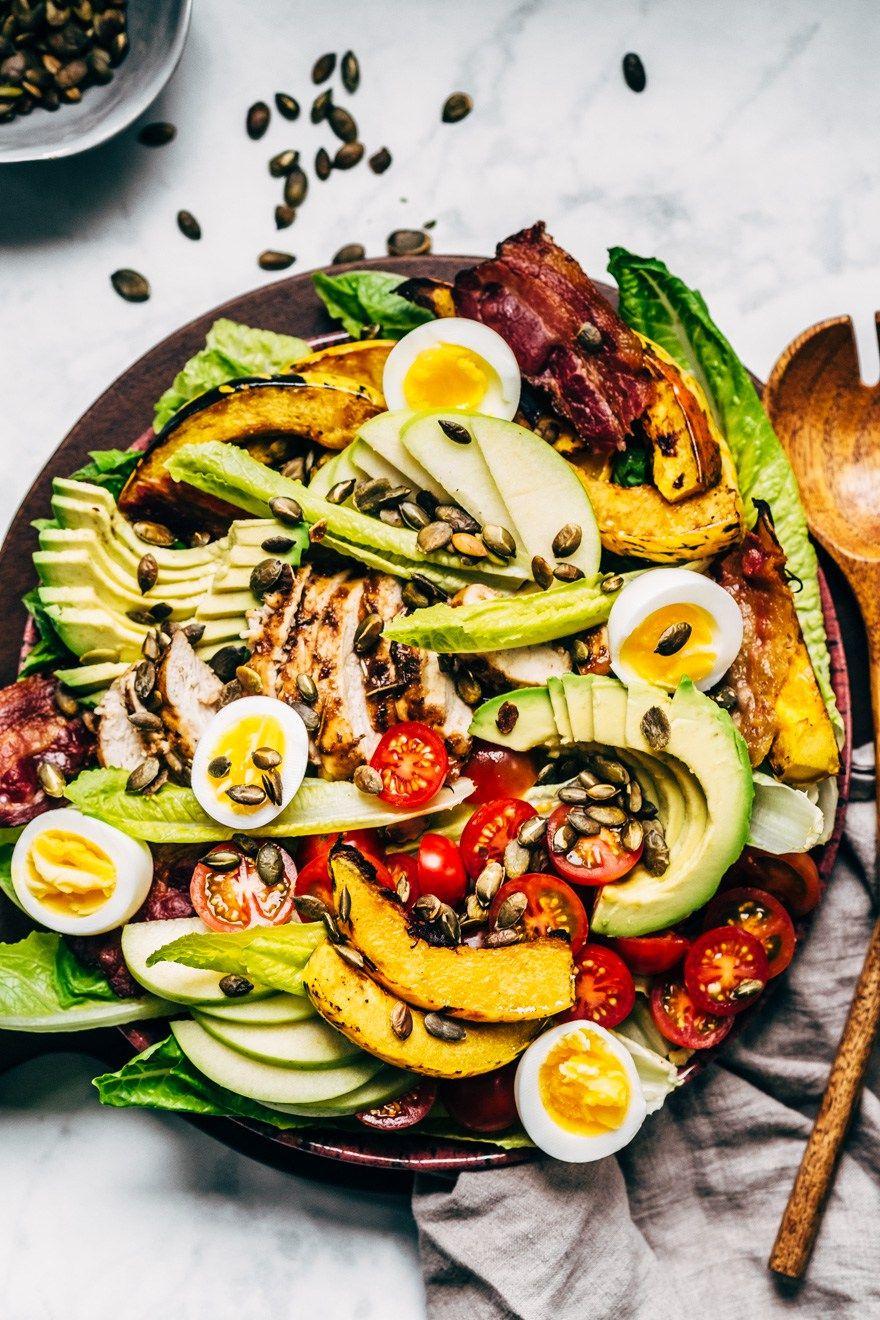 Autumn cobb salad with creamy hemp seed dressing paleo
