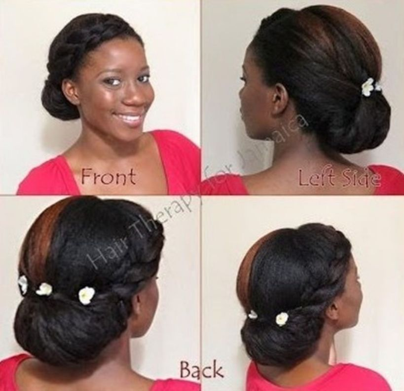 Updo Hairstyle #40: Protective Tension-Free Black Chignon Updo