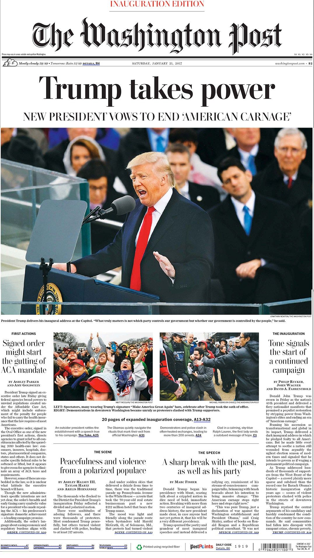 Washington Post 210117 front page headline stories
