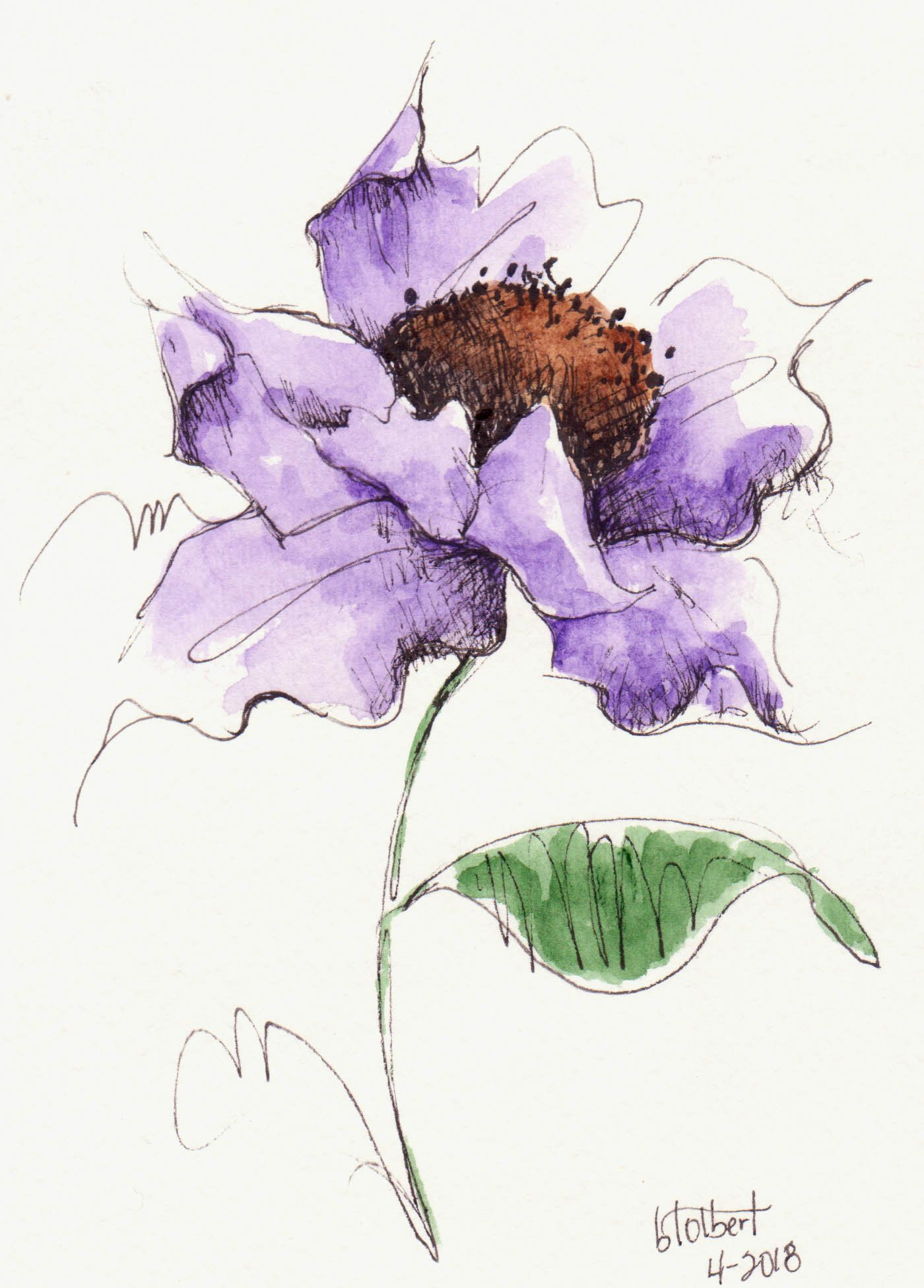 Original Watercolor Poppy Purple Flower Art With Bud Hand Painted