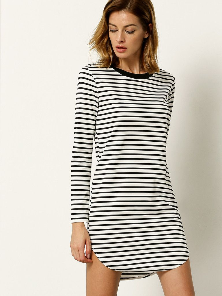White Long Sleeve Striped Dress | My Style | Pinterest | Sleeve ...