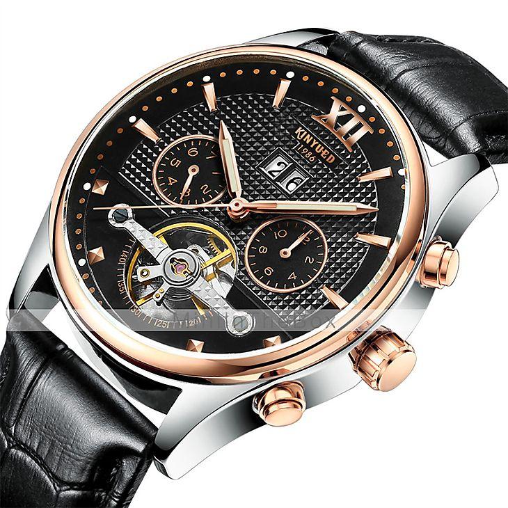 05e5c8bd008 KINYUED Masculino Relógio Elegante Relógio Esqueleto Relógio de Pulso  relógio mecânico Automático - da corda automáticamenteCalendário