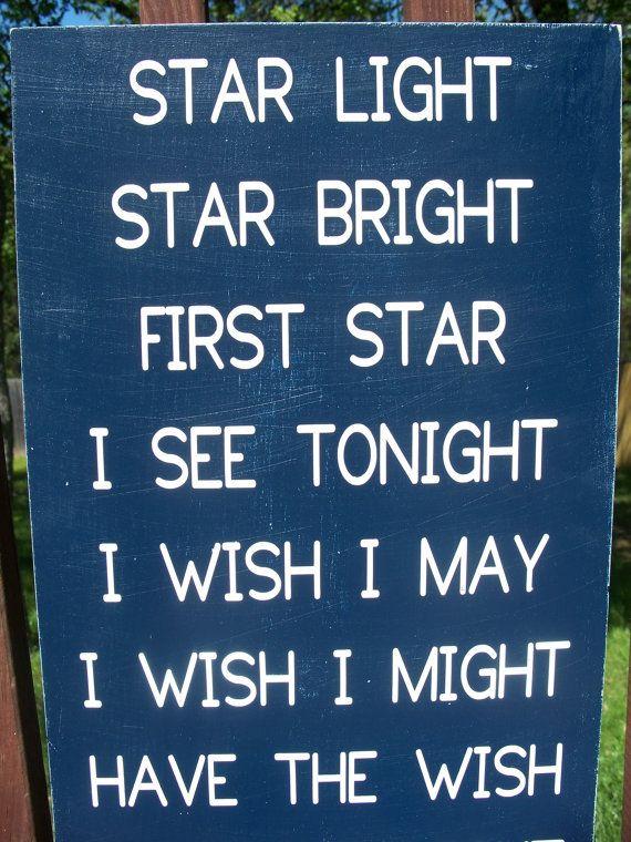 STAR Light Star Bright First Star I see Tonight- Subway Art, Valentines Gift, Childrens & Nursery Sign, Kids Room Decor via Etsy