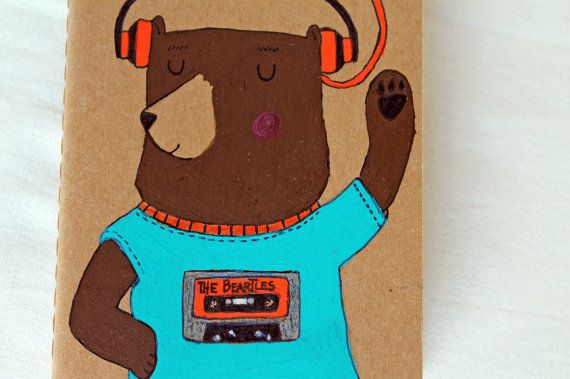 Moleskine journal with a bear listening to by LaDouceurDuMiel, €9.00