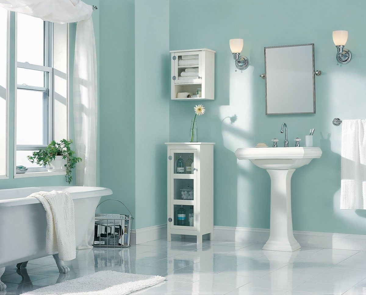 Bathroom designs for small spaces blue - Stunning Minimalist Small Bathroom Design With Light Blue Wall With Latest Images Stunning Minimalist Small Bathroom Design With Light Blue Wall With Image