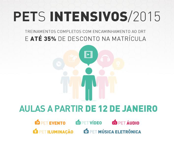 Arte de divulgação dos PETs Intensivos - Vídeo - 2015