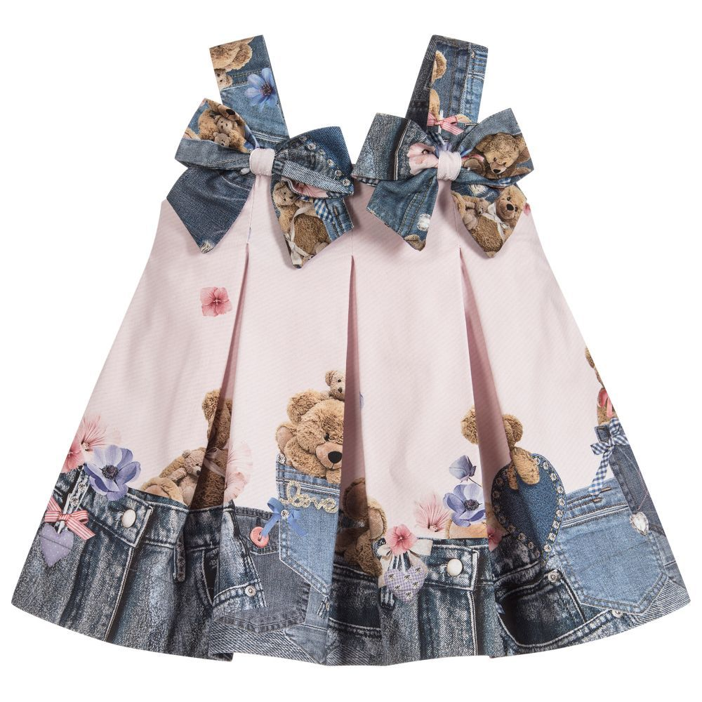 ea9a7e1b3ba4 Teddy Print Cotton Dress for Girl by Lapin House. Discover more beautiful  designer Dresses for kids online