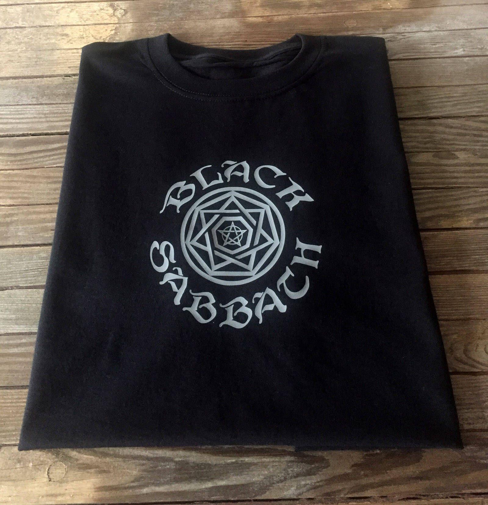 Black sabbath t shirt etsy - Black Sabbath T Shirt Ozzy Metal Wicca Style Pentagram Pentangle Rock Design