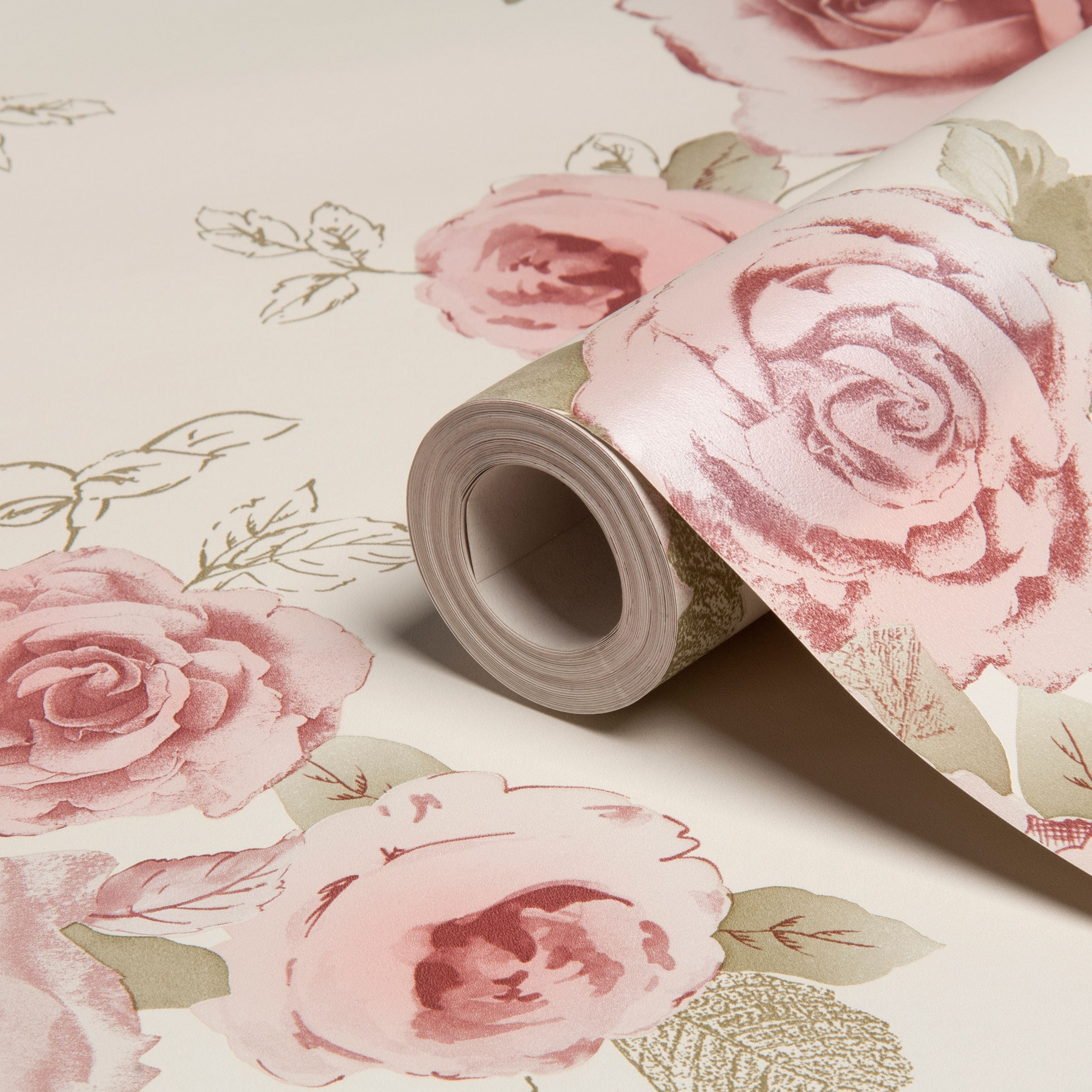 Arthouse Vintage Nicky Cream Green Rose Floral Wallpaper