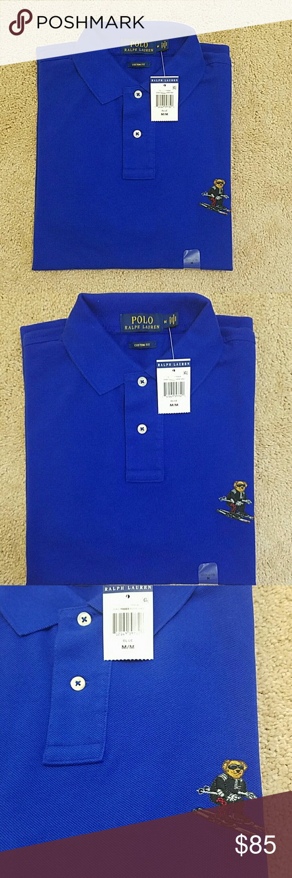 Ralph Fit Polo Royal Bear Men's Lauren Custom Blue c3qjRL4S5A