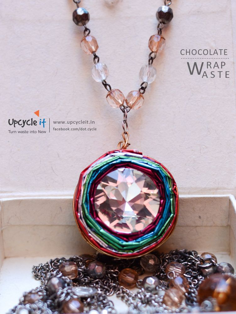 Pendant made from chocolate wraps .. www.facebook.com/dot.cycle