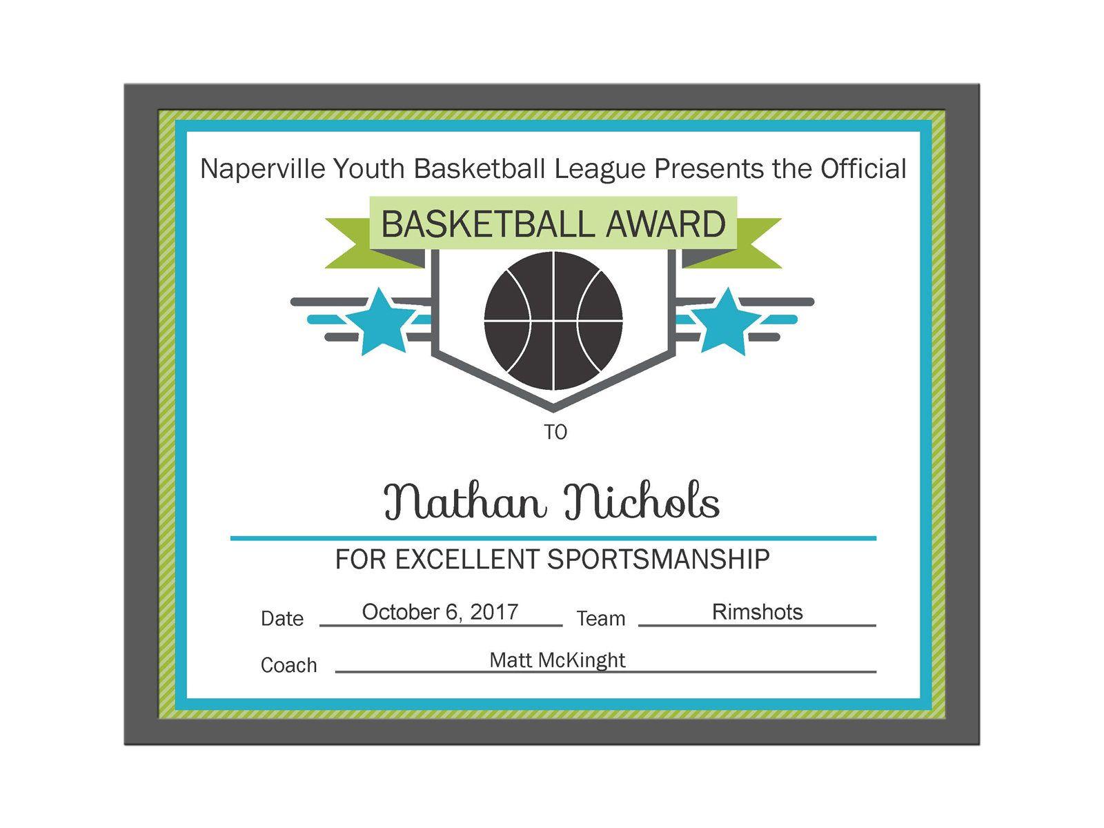 Editable Pdf Sports Team Basketball Certificate Award Template In 3