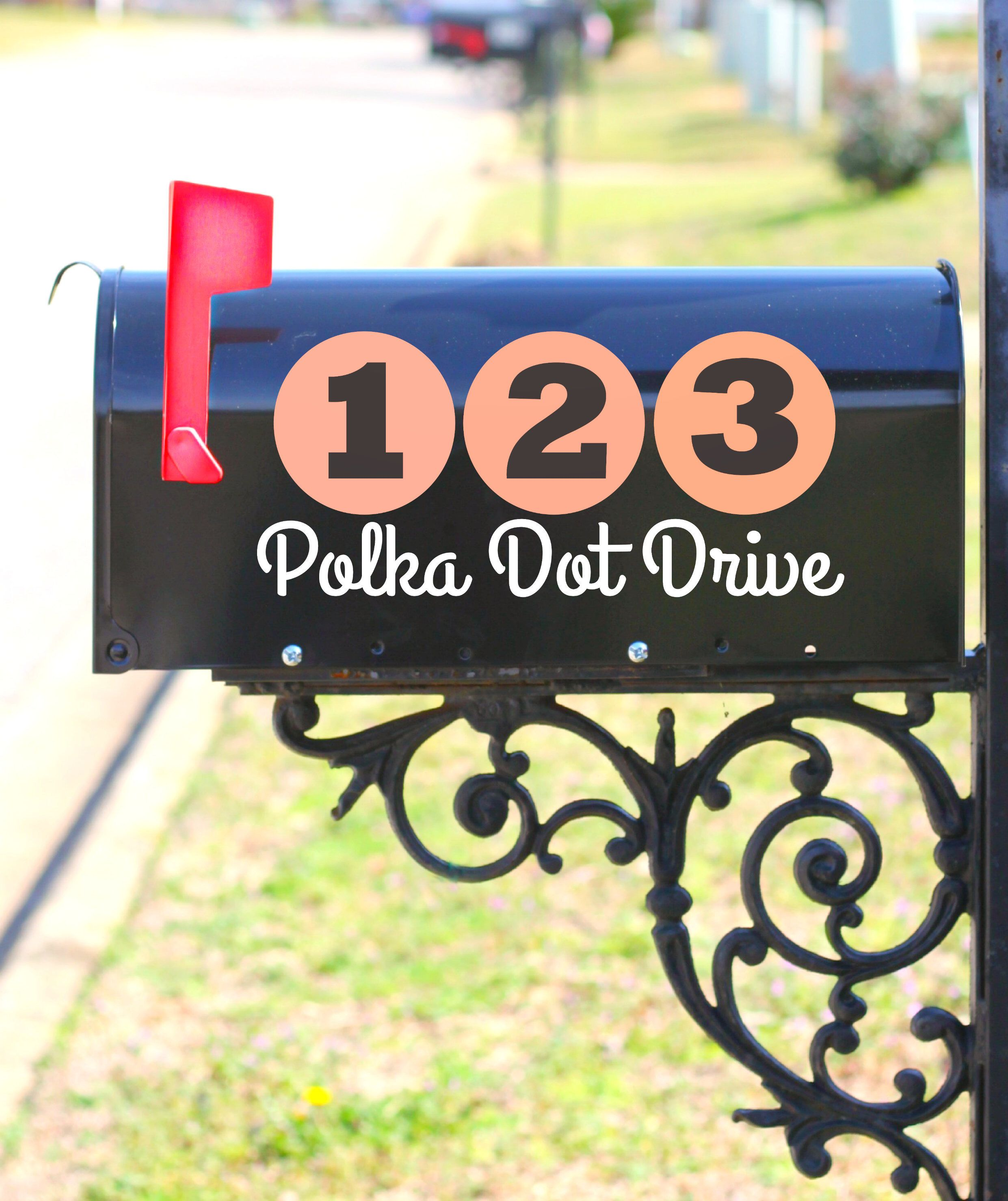 Mailbox Decal Polka Dot Numbers Number Stickers Address