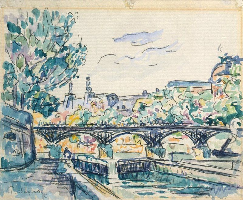 Tugboat at the Pont Neuf Paul Signac Watercolor Reproduction Fine Art Print