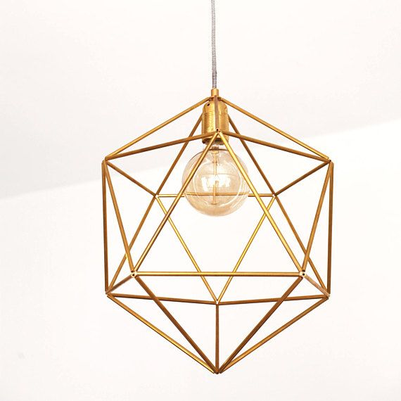 Large Ceiling Light Fixture Cage Brass Pendant Lamp Shade