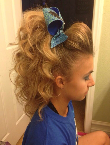 Cheerleader Hairstyles half up poof with braid Find This Pin And More On Cheer Hair Make Up By Officialmakenna