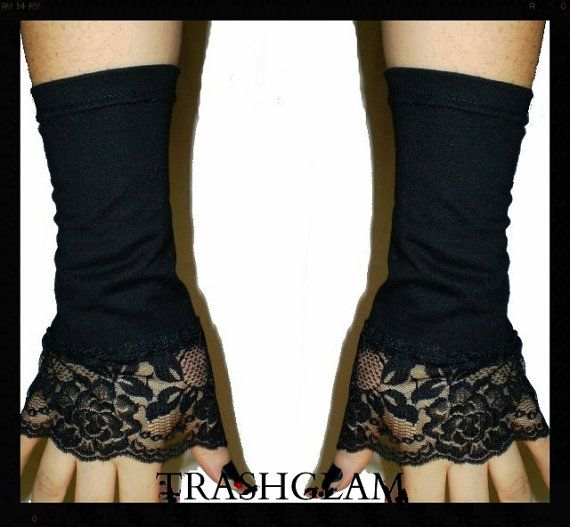 TRASHGLAM Mourning bloom BLACK LACE cotton arm by HausofTrashglam, $19.99