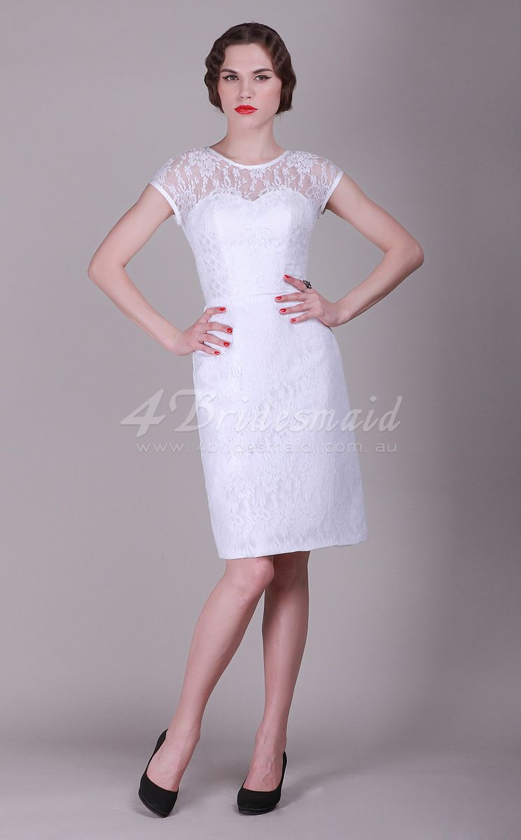 Mini white wedding dress  SheathColumn JewelWith Sleeves Lace ShortMini White Bridesmaid