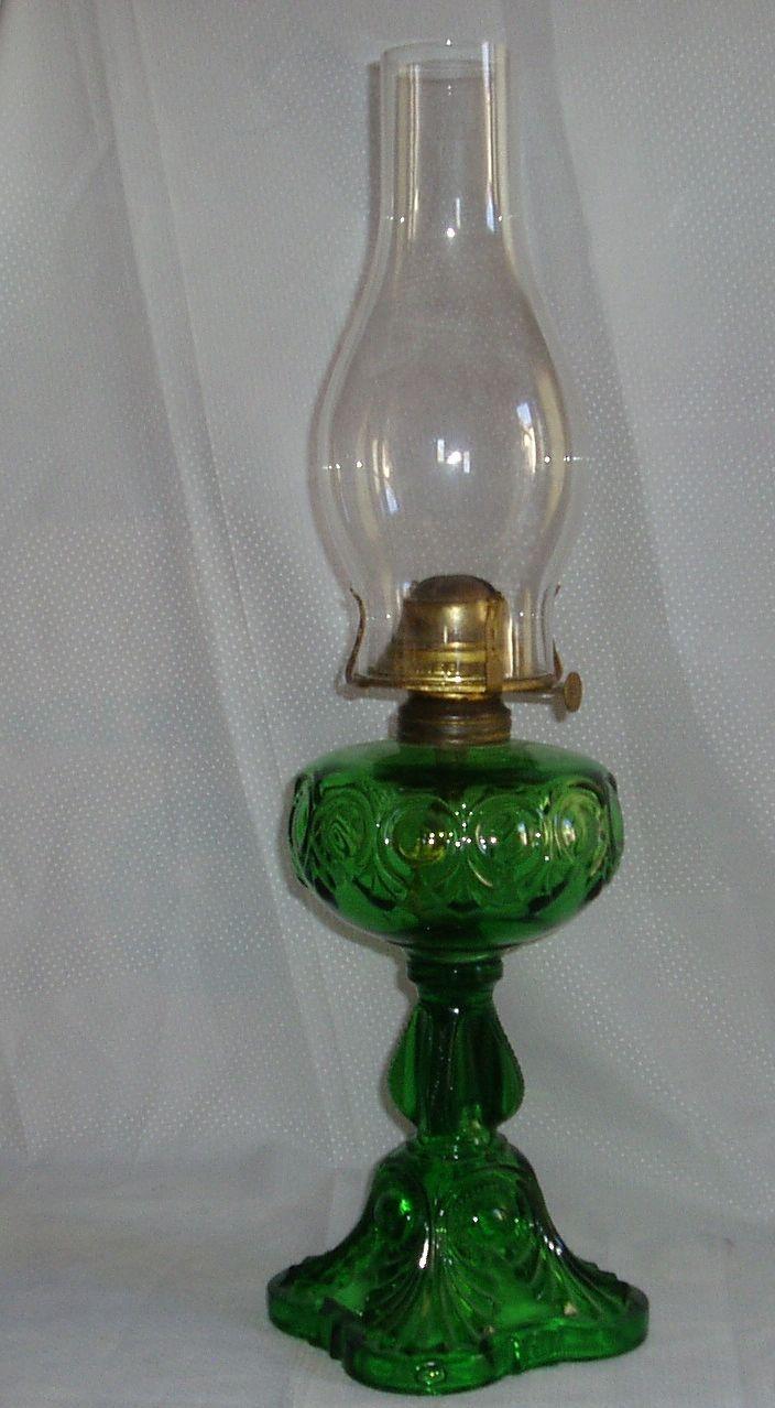 Antique Green Glass Bullseye Table Oil Lamp From