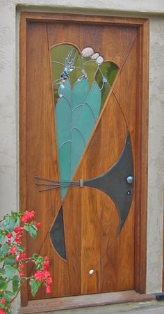Stained Glass and Wood Entry Door by James Hubbell ..rh
