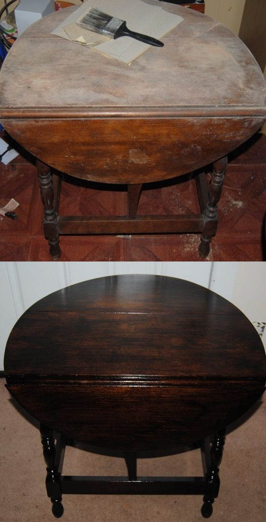 Before And After Refinished Drop Leaf Table On The Upcycle.Com