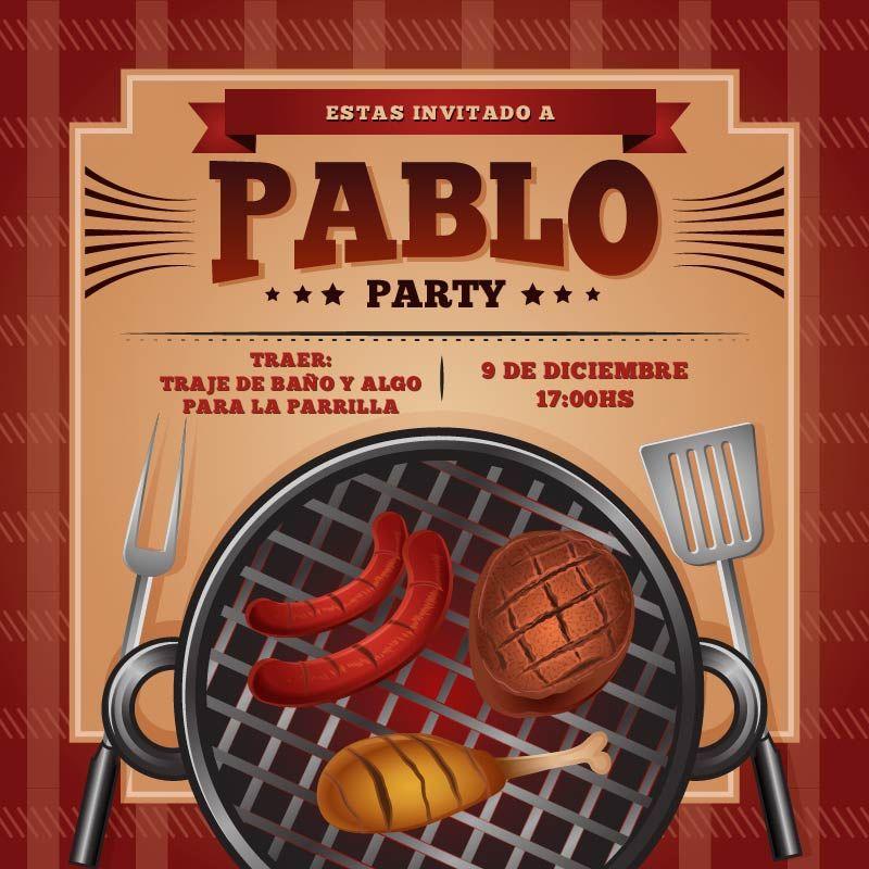 Invitación Cumpleaños Asado Y Pileta Fiesta De Barbacoa