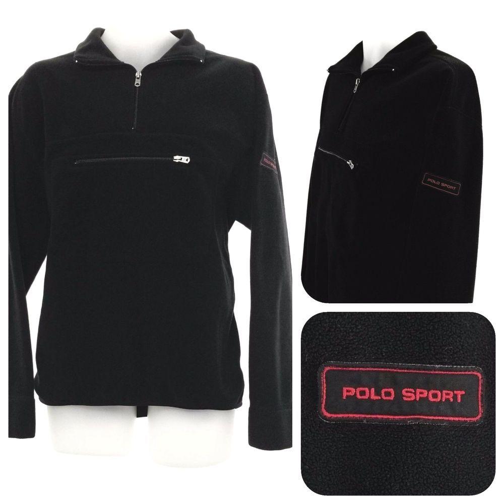 VTG POLO SPORT Ralph Lauren Mens L Sweatshirt PolarTec Jacket 90s Hiking  Black