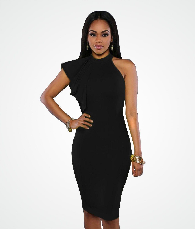 b3f109d0 Sukienka czarna z falbanką midi ołówkowa w 2019 | Czarna sukienka ...