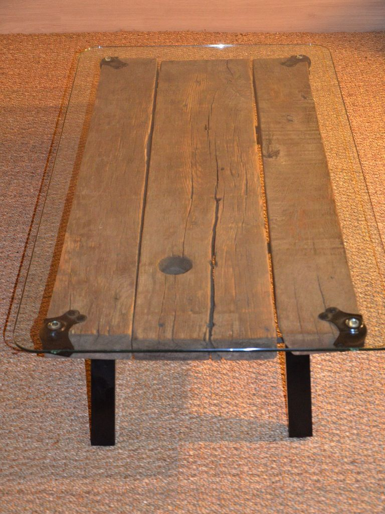 Table Basse Bois Et M Tal Plateau En Verre Upcycling Wood Coffee Table Table Basse