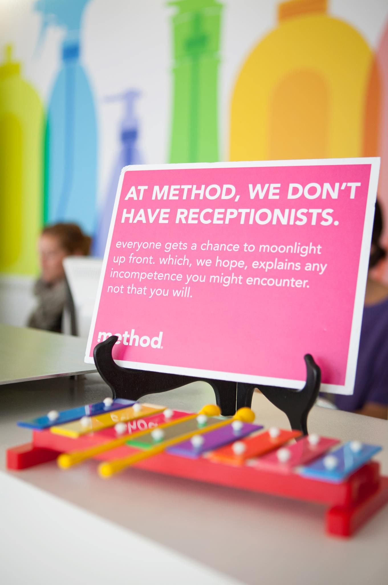 at method, every employee has 'receptionist' in their job description, including the CEO. we all take a turn manning the front desk.