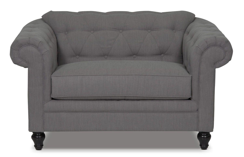 Delightful Julia Chenille Chair And A Half   Grey