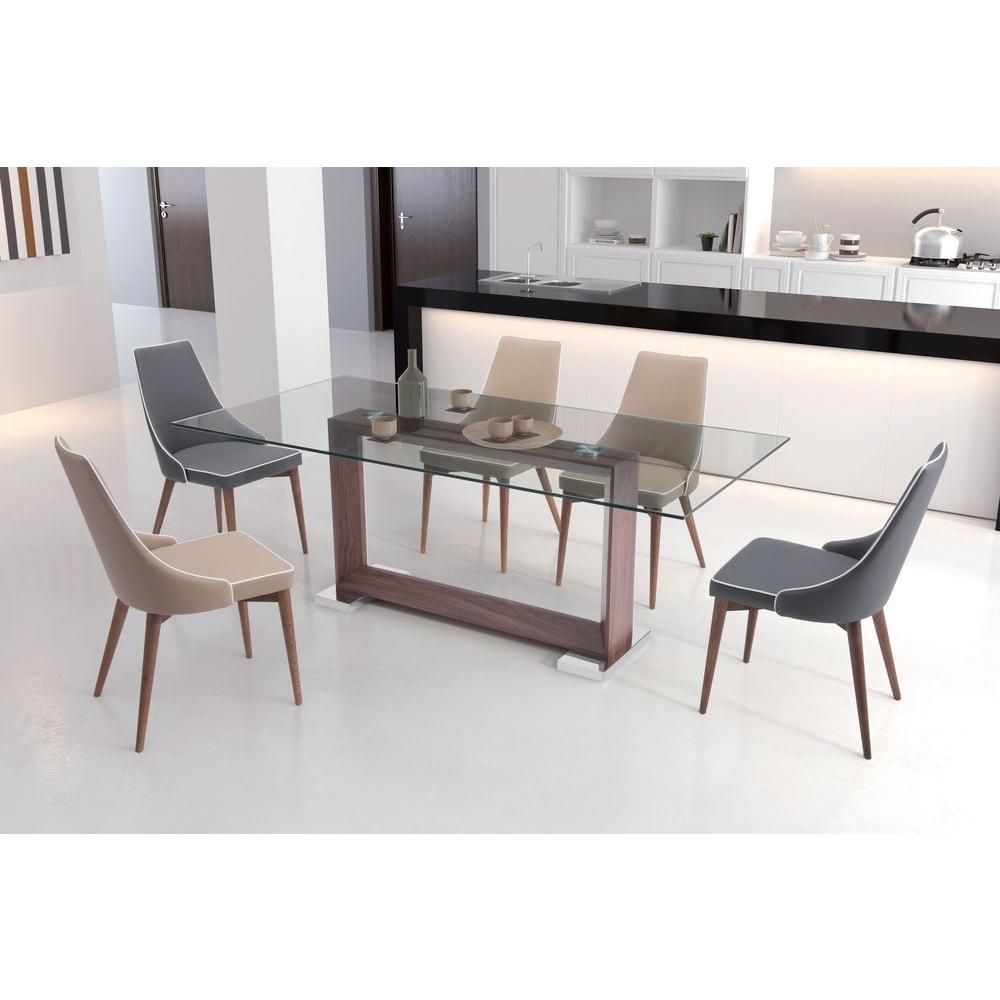 Zuo Oasis Walnut Dining Table 100288 In 2020 Steel Dining Table