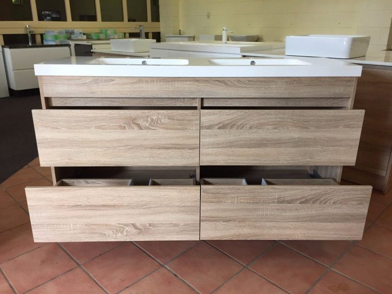 Moda 1500mm White Oak Timber Wood Grain Floor Standing Bathroom Bathroom Vanity Drawers Vanity Drawers Timber Vanity