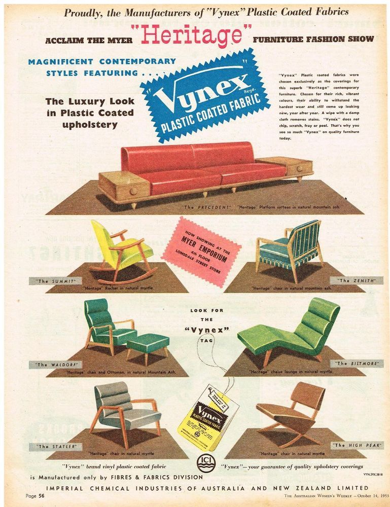 VYNEX FABRIC AD RETRO FURNITURE AUSTRALIAN Vintage Advertising