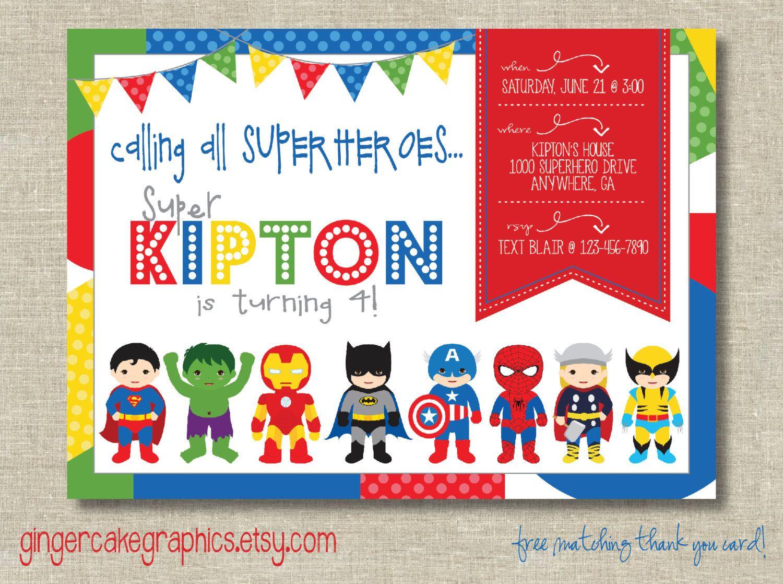 Superhero Birthday Invitation - Digital - Printable by ...