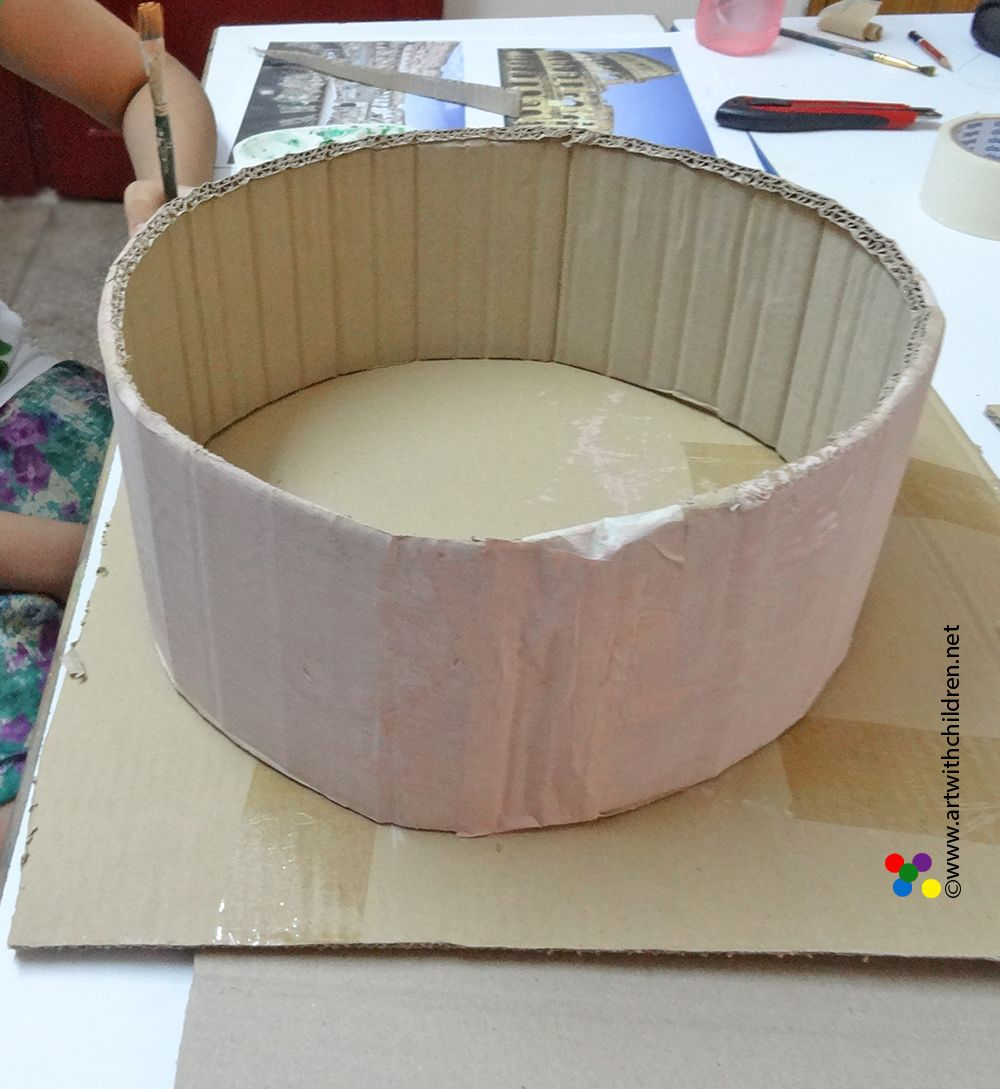 Easy cardboard model of the colosseum project for Cardboard for projects