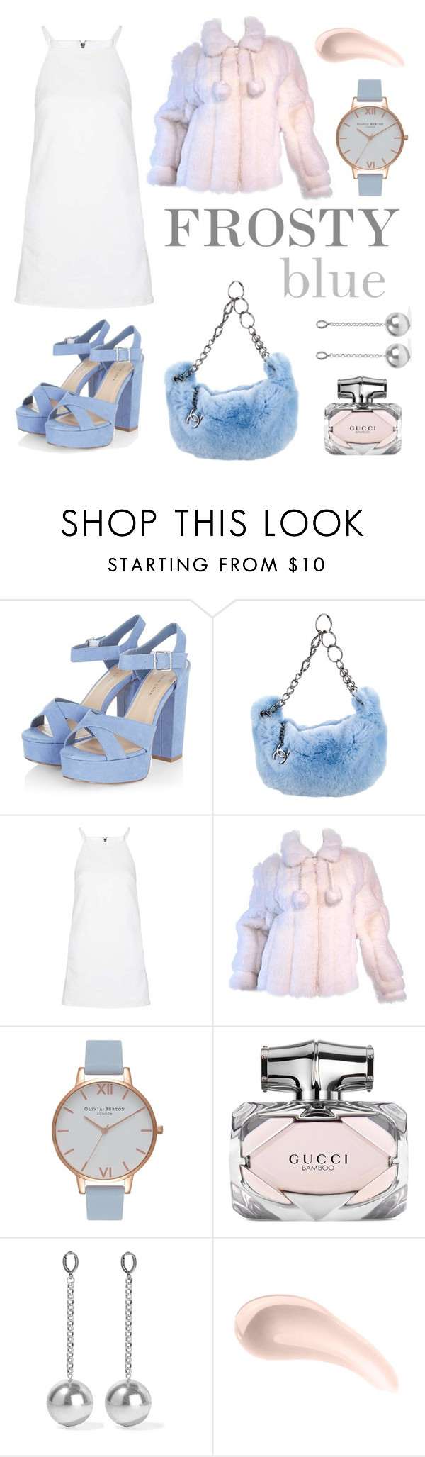 """""""Frosty blue"""" by matildasinc ❤ liked on Polyvore featuring Chanel, Topshop, Oleg Cassini, Olivia Burton, Gucci, Isabel Marant and Soap & Glory"""
