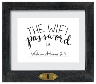 wifi password on pinterest wifi password printable guest room essentials and guest room baskets. Black Bedroom Furniture Sets. Home Design Ideas