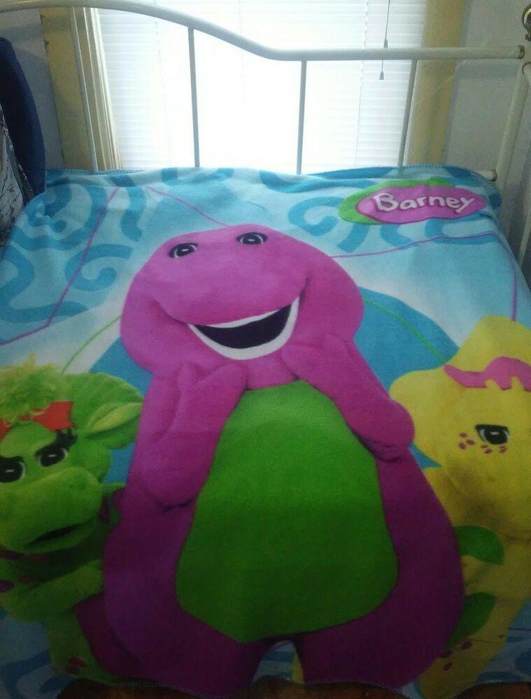 Plush Barney Friends Soft Polar Fleece Throw Blanket Dinosaur 48