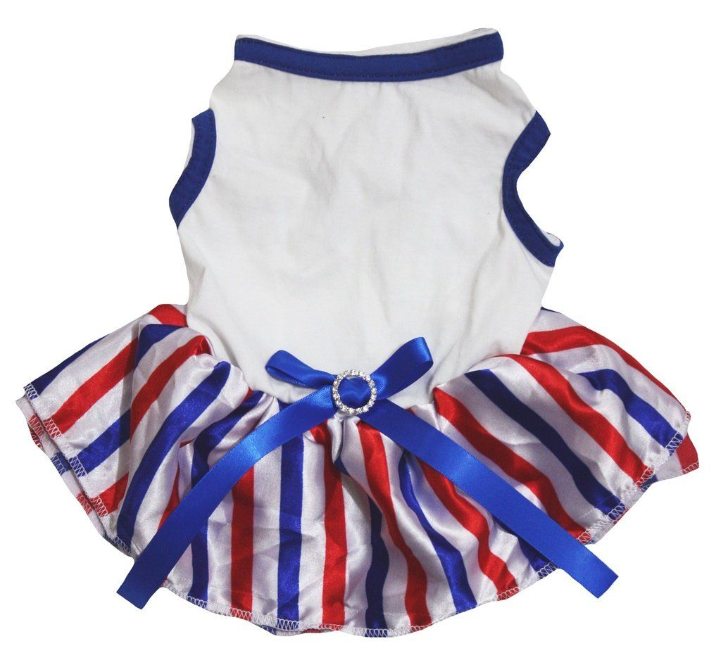8283b6f0b Petitebella Puppy Clothes Dog Dress Plain Blue White Top RWB Stripes Tutu  Medium * Check this awesome product by going to the link at the  image-affiliate ...