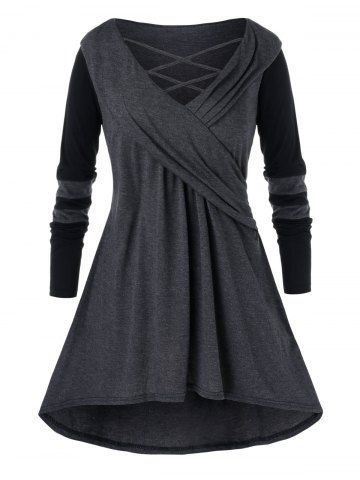Photo of Plus Size Casual Cowl Collar Long Jointed Top