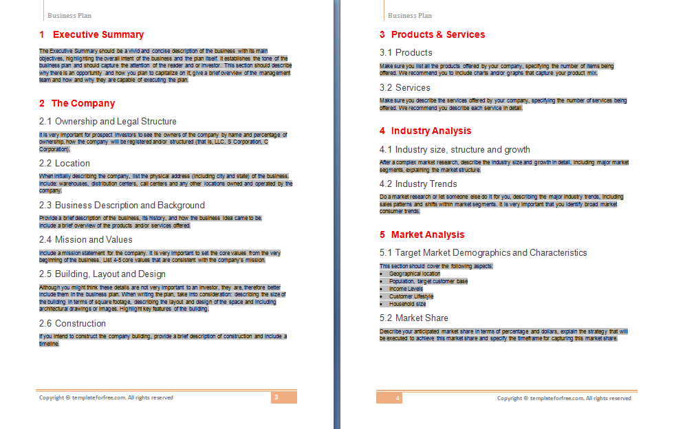 Create A Free Business Plan  Business Plan Free Document Template