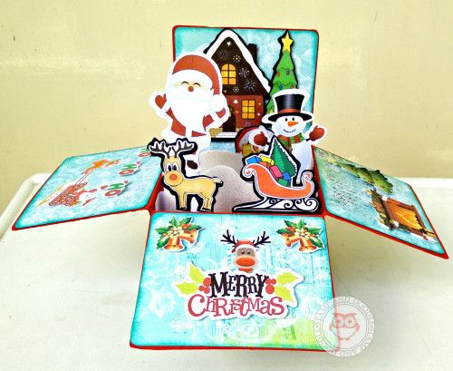 Christmas Foldable Pop-Up Box Card | Stamp and Doodle
