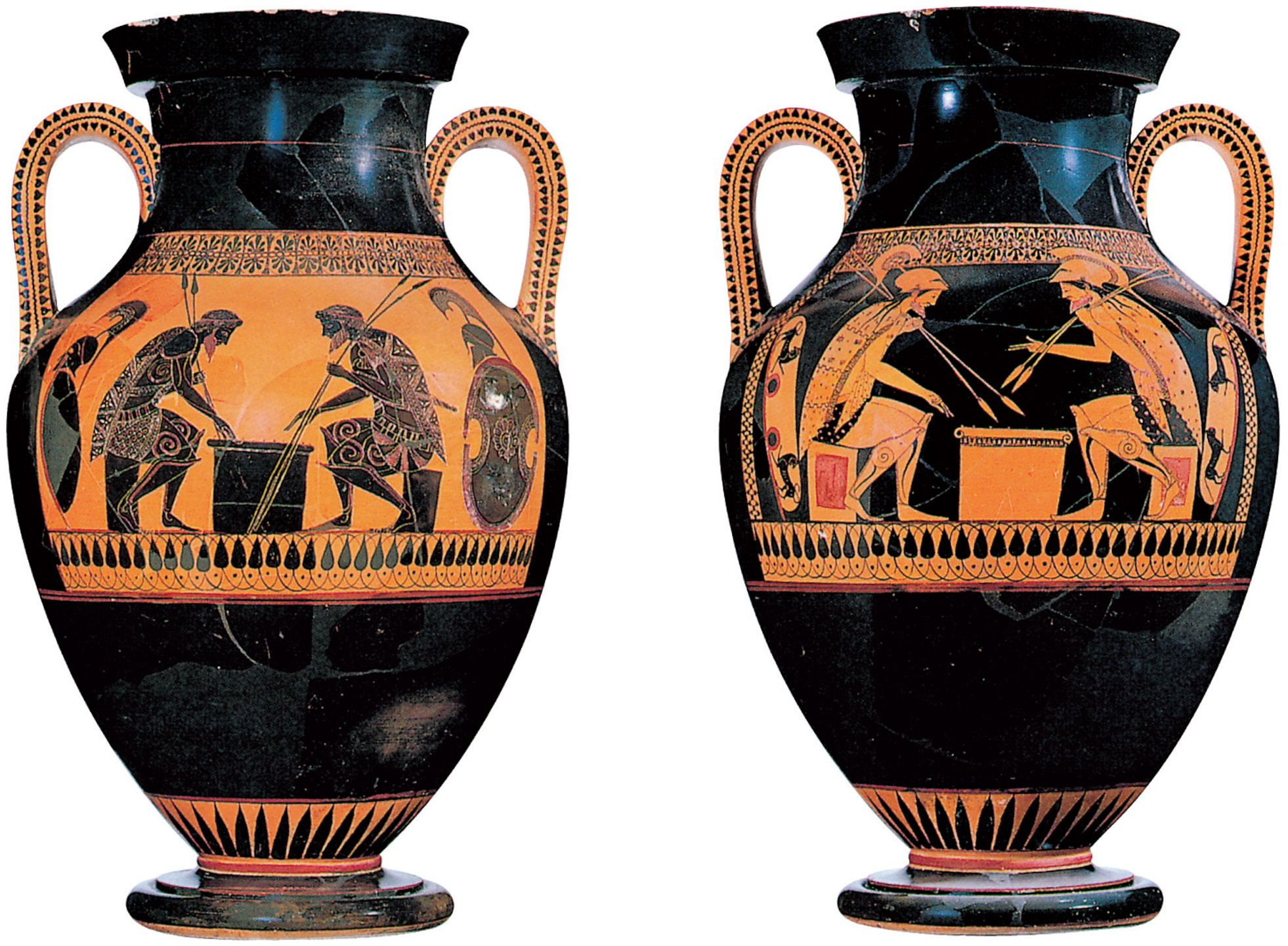 3 20 And 3 21 Andokides Painter Achilles And Ajax Playing Dice C 525 520 Bce Black Figure And Red Figure Bilingu Ancient Greek Art Greek Vases Greek Art